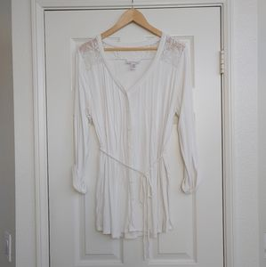 Ivory Lace Button Front Maternity Blouse